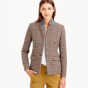J Crew Plaid Wool Regent Blazer With Beaded Collar